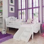 Cama Infantil Princesas Encantada Com Grade De Proteção, Escadinha E Mini Escorregador - Branco