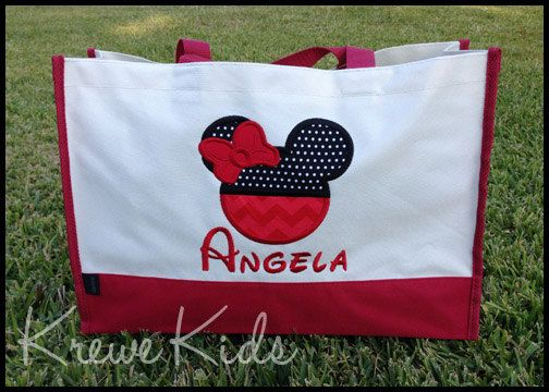 Personalized Disney Inspired Monogrammed Tote Bag by www.facebook.com/#KreweKids 23.50! HUGE, personalized. Choices of colors, fabrics, What you wish to have embroidered... This is LOVELY!
