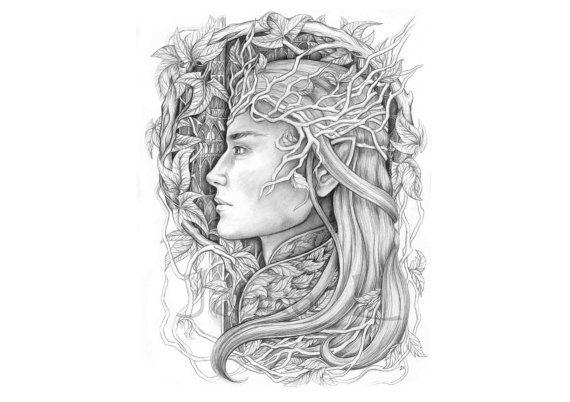 Original drawing  King of the Elves fantasy elven art by JankaLart