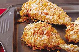 Put down the greasy fast-food chicken. Crushed corn flakes serve as the crunchy coating for this oven-baked, Healthy Living entrée.