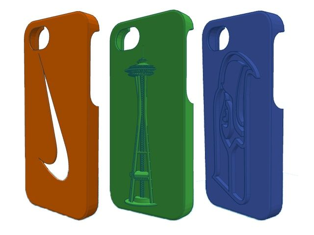 3D Printed iPhone Case: SEATTLE SEAHAWKS and SPACE NEEDLE