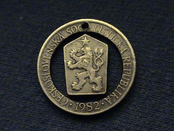 Czechoslovakia  cut coin pendant