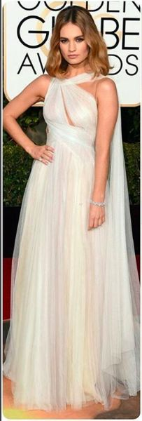 lily james in #Marchesa cinderella style