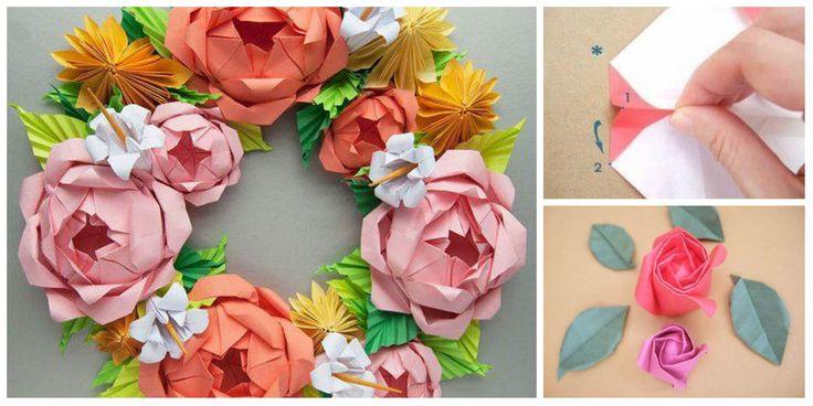 Бумажные венки в технике оригами