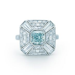 Tiffany 7 Co Fancy Greenish Blue Diamond Art Deco Ring in platinum with white diamonds.