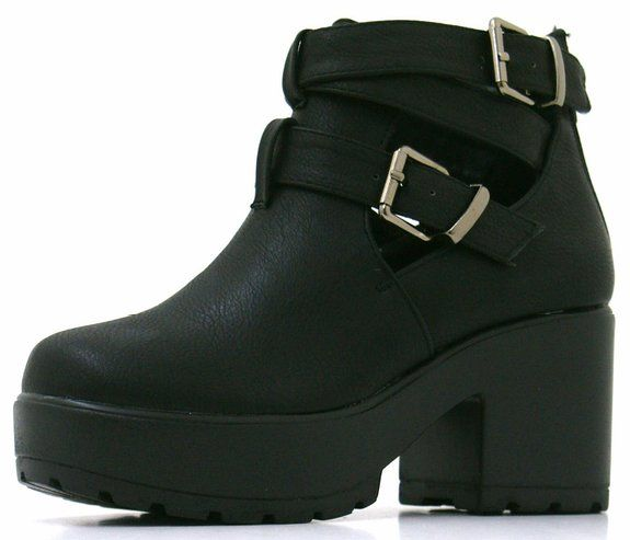 Girls Kids Childrens Faux Leather Cut Out Mid Block Heel Cleated Sole Chunky Platform Ankle Shoes Boots - E10: Amazon.co.uk: Shoes & Bags