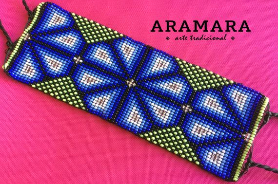Mexicaanse Huichol Loom Beaded Peyote armband PT-0004 Huichol kunst - Mexicaanse armband - Mexicaanse sieraden - Huichol armband - Huichol kralen