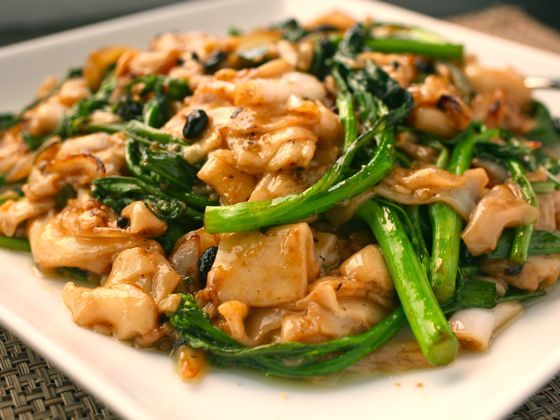 Dry-Fried Chow Fun with Chinese Broccoli - one of my favorites that I've never found at a restaurant since moving from Boston