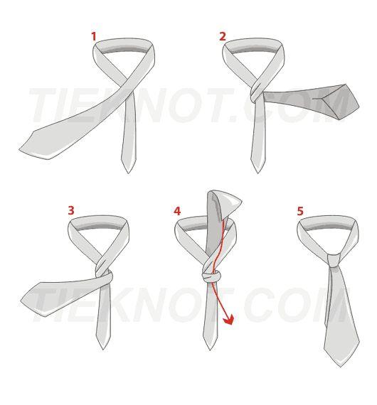 El nudo simple es el gran clásico de los nudos de corbata. Es sin duda el más utilizado debido a su simplicidad y porque se combina con la mayoría de las corbatas y con casi todos los cuellos de camisa. Es el nudo perfecto para los hombres de talla mediana. En forma cónica alargado, el nudo simple resulta estrecho con corbatas finas y más ancho con corbatas gruesas.