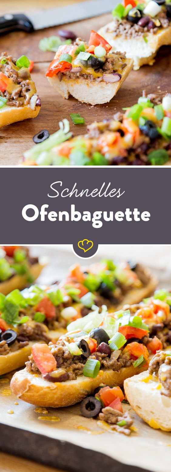 Frisches Baguette, würziges Hack und schmelzender Cheddar. Dieses schnelle Ofenbaguette schlägt jedes Butterbrot und ist nach 25 Minuten auf dem Teller.