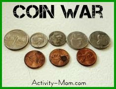 """The Activity Mom: """"Coin War"""" Money Game. Roll the dice. Add that many pennies to your pile. Change 5 pennies for a nickel, 2 nickels for a dime, 2 dimes and a nickel for a quarter. The first person to get to a dollar wins."""