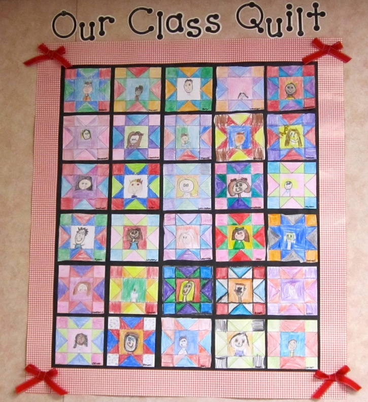 Class quilt: use for pioneer lesson. each child shows a story of their choice in their quilt square. put it all together and make a quilt to hang on the wall.