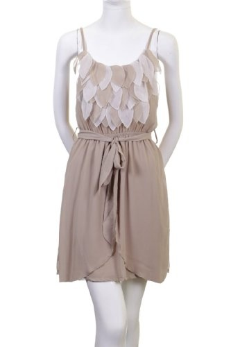 Ina Layered Leaf-Shaped Cut Outs and Netting Detail Banded Spaghetti Strap Dress Light Beige Brown