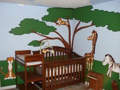 Jonas Safari Nursery Theme Wall Mural With Paintings Of A