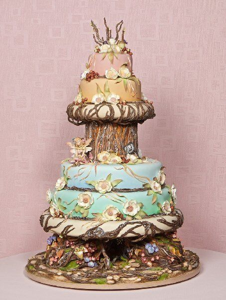 Exquisite Woodland Fairy Wedding Cake Design by Mercedes Strachwsky of Florida - displayed at the Oklahoma State Sugar Art Show. by francesca-caas