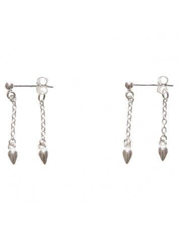 Petite Grand Silver Double drop pear earring