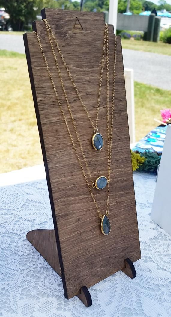 Tiered Necklace Display w/ Custom Logo {{layered, wooden display
