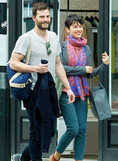50 Shades of Fit!  Jamie Dornan and wife Amelia Warner were all smiles as they left a gym in London on April 8.