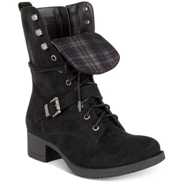 American Rag Reighn Lace-Up Combat Boots, Created for Macy's ($48) ❤ liked on Polyvore featuring shoes, boots, black, laced boots, army boots, front lace up boots, lacing combat boots and punk shoes