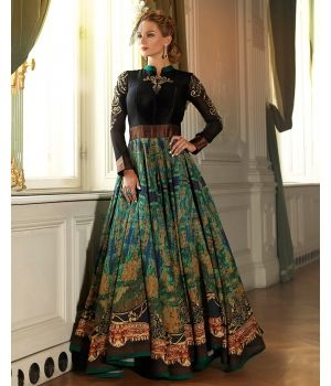 Stylish Silk Anarkali Suit $82.Fetch a royal appeal for your ethnic wardrobe with this Stylish Silk Anarkali Suit in black and green. Made in fine silk, the semi-stitched suit offers an elegant drape, while exquisite traditional embroidery on the neckline and sleeves makes it a visual delight.