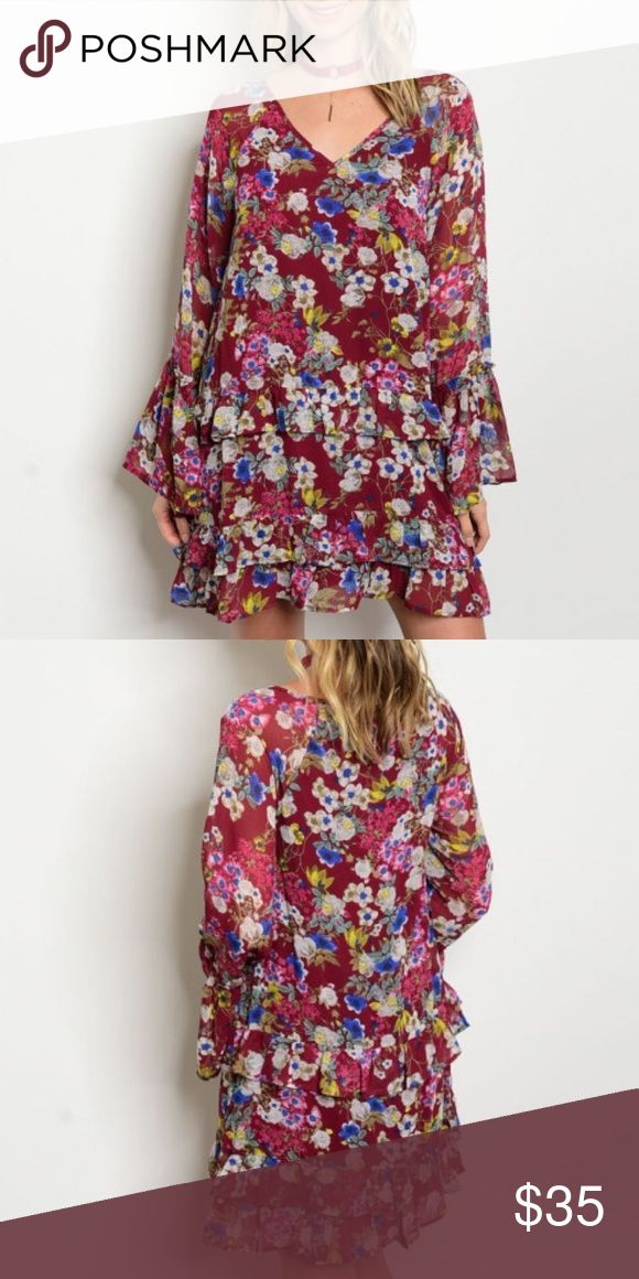 """Burgundy Floral Festival Dress Long bell sleeve V-neck front floral print chiffon tunic dress, because what's not to love about any of that?  100% Polyester Description of Small: L: 34"""" B: 34"""" W: 40"""" LucyMint Dresses Mini"""