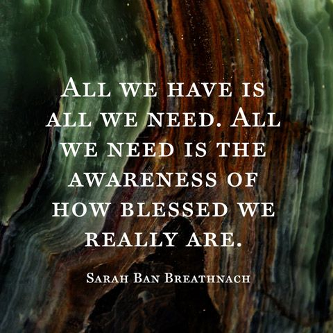 All we have is all we need. All we need is the awareness of how blessed we really are. — Sarah Ban Breathnach