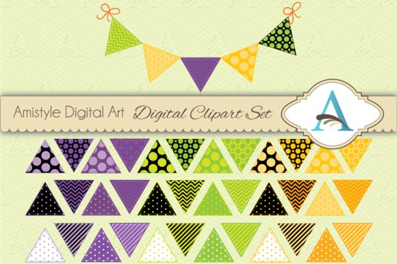 Check out Halloween Bunting Triangle Flags by Amistyle Digital Art on Creative Market