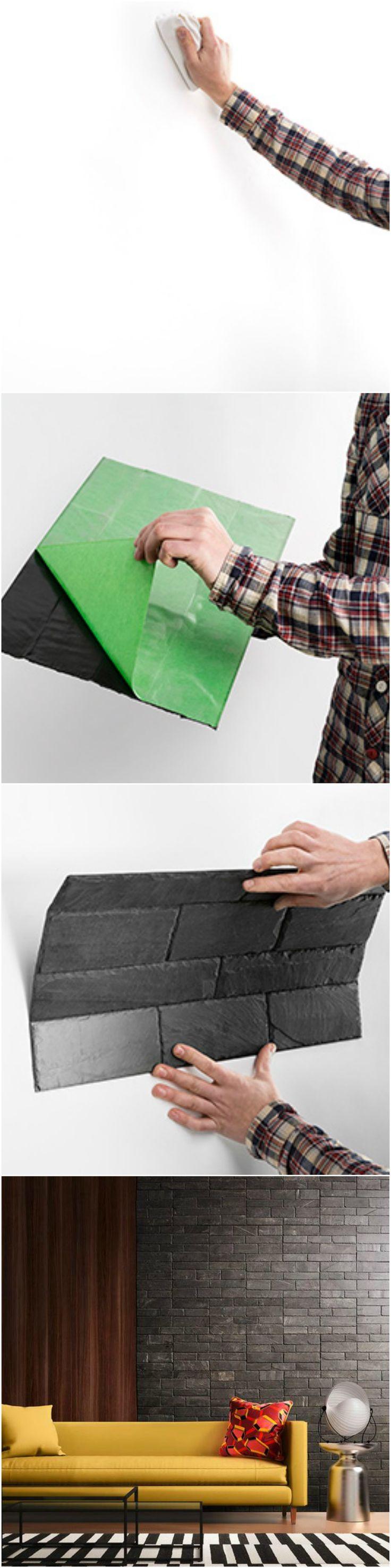 1, 2 y 3¡¡¡ Hazlo tu mismo #diy en 3 simples pasos y coloca una pared de pizarra natural adhesiva con STONETACK de CUPASTONE. Resultados profesionales #natural #slate #pizarra #adhesivo
