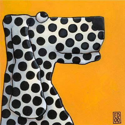 Braaaf: Origineel verkocht.   Ansichtkaart en giclée prints met afdruk van het schilderij Braaaf door kunstenaar Ed van der Hoek. Oker gele voorstelling van dalmatier hond.