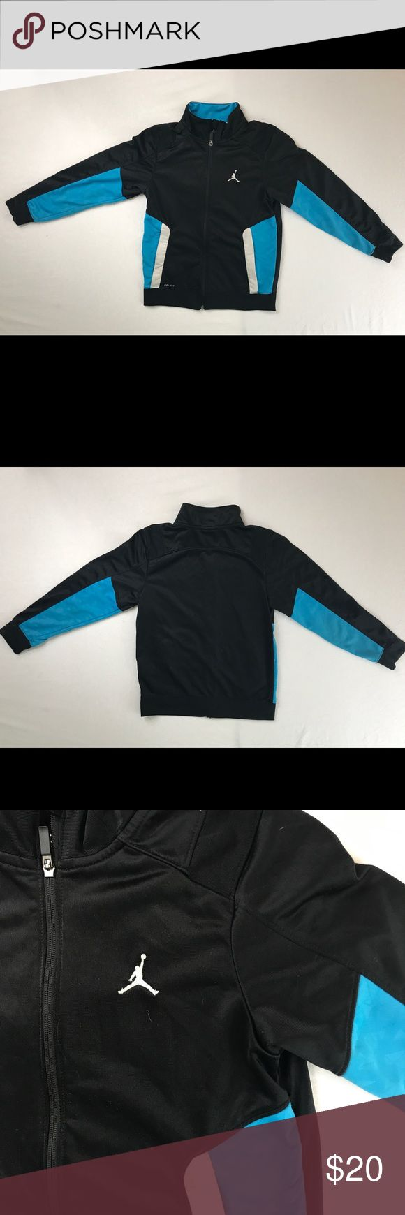 ♻️Nike Air Jordan Youth 10-12 full zip Jacket Nike Air Jordan full Zip athletic basketball jacket   Size - Medium (10-12)  Color - Black/Blue/White   Excellent Condition Nike Shirts & Tops Sweatshirts & Hoodies