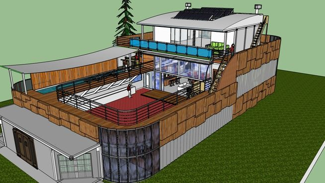 Large preview of 3d model of shipping container home with for U shaped container home