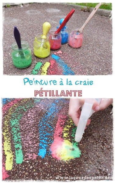 Découvrez comment rendre votre peinture à la craie magique avec cette recette de peinture à la craie pétillante. http://www.lacourdespetits.com/peinture-a-la-craie-magique-petille/ #peinture #craie