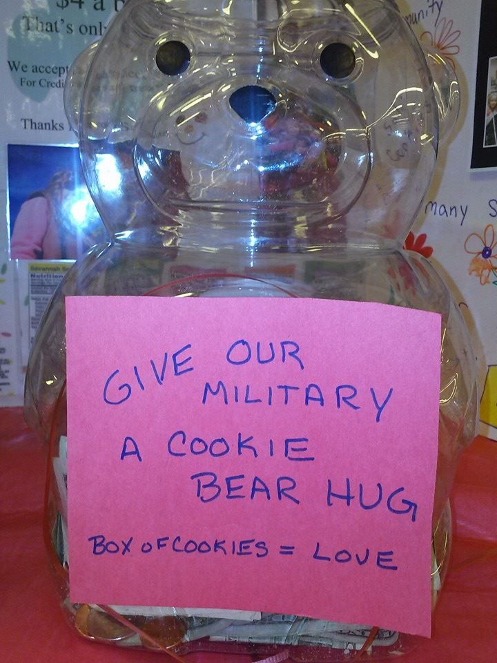 Boothsale donation jar -- Give our military a Cookie Bear Hug.  Use an animal cracker bear container and add your own sign.