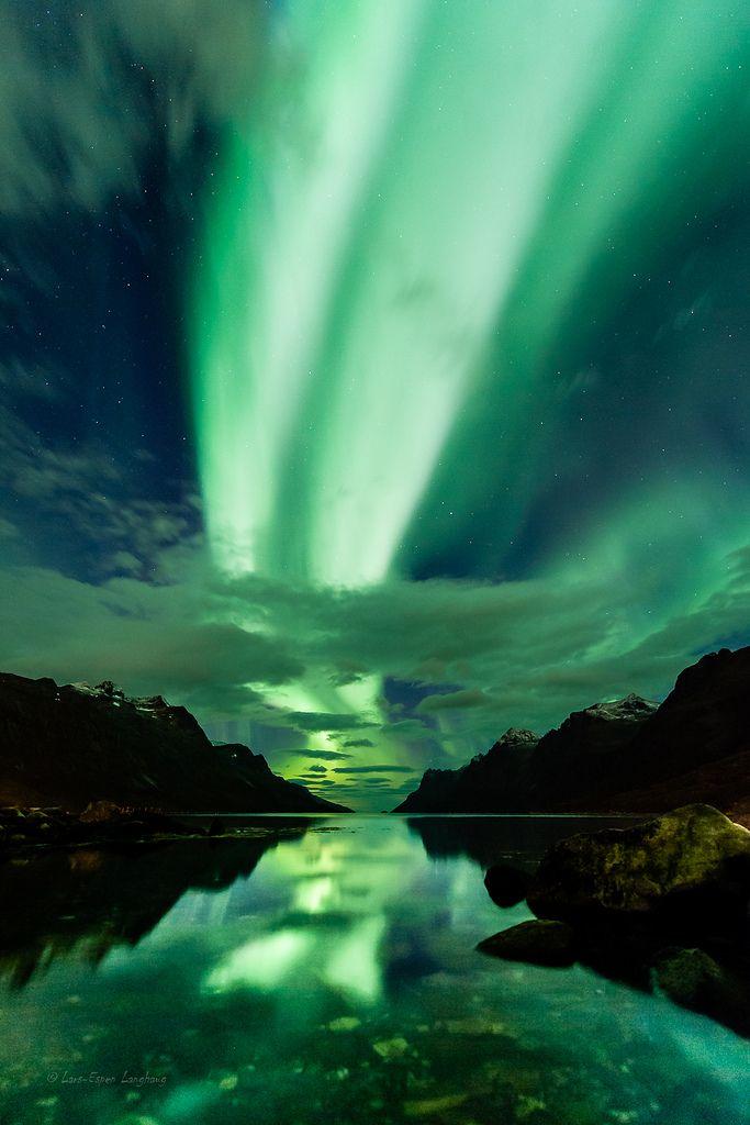 Dual Aurora highway above Ersfjorden, nothern Norway