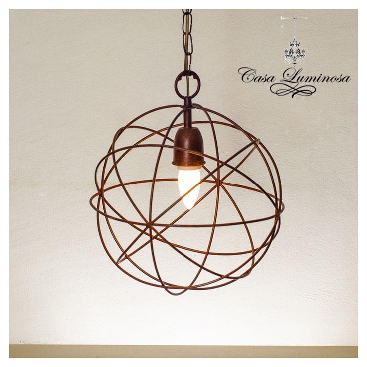 Casa luminosa lampara colgante en hierro alambre oxido for Faroles en hierro forjado para jardin