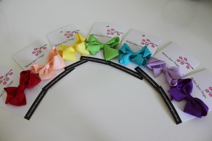 Rainbow Coloured Bows available from  http://madisongracedesigns.com.au/catalog.php?category=12