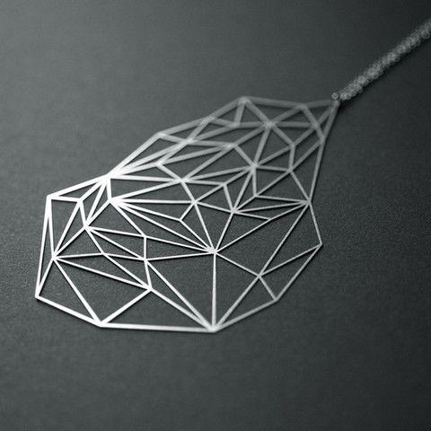 Moorigin Stone Pendant Necklace large - silver