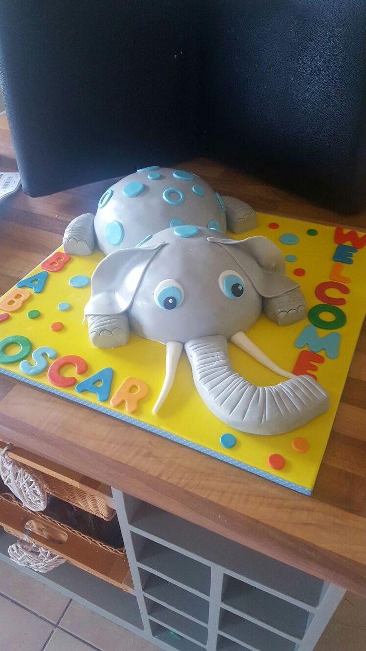 Welcome to my grand nephew Oscar! Baby elephant cake!