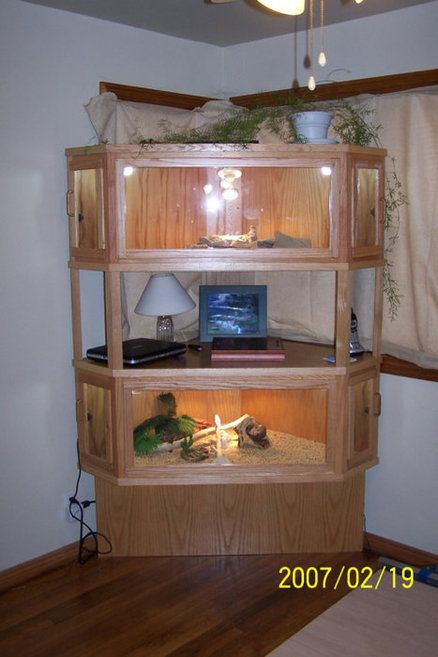 Corner Reptile Cage. http://lumberjocks.com/projects/9871 Very nice, but I think a larger base would look better. ~G.