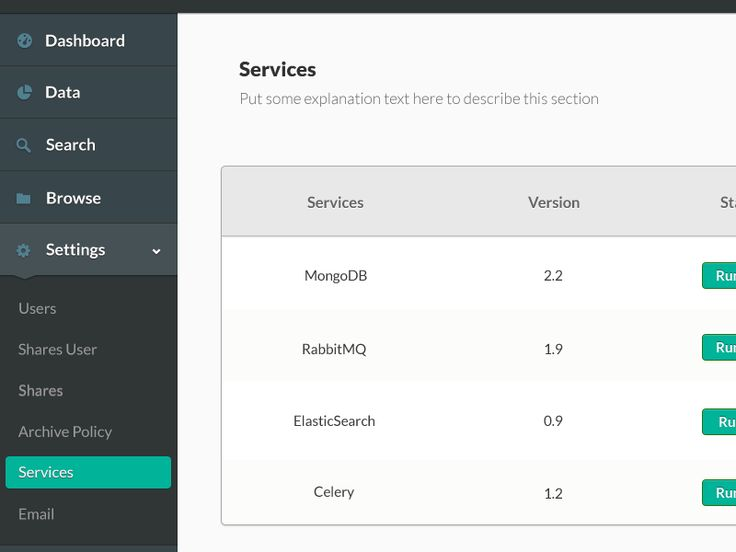 sidebar menu for a dashboard. expand / collapse
