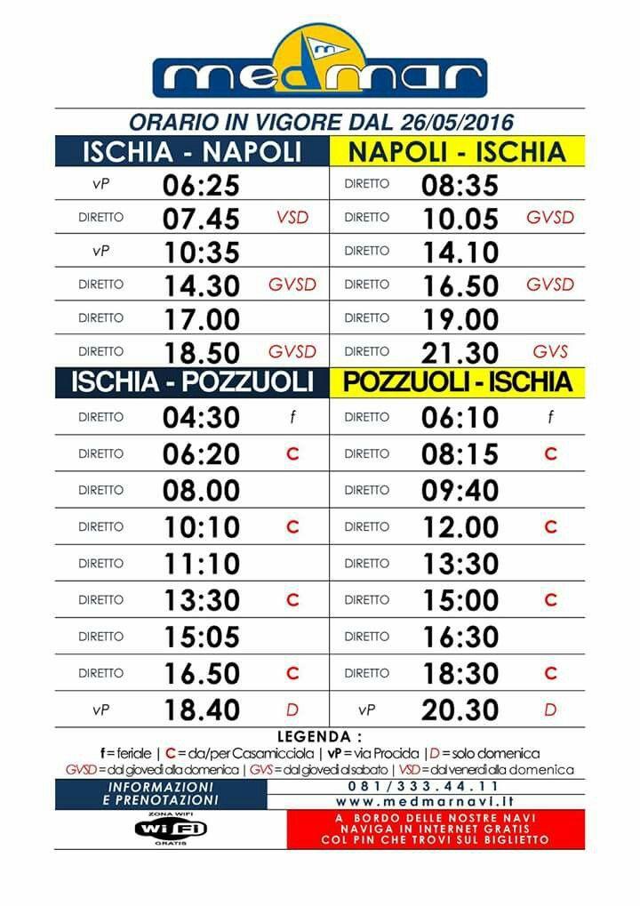 Nuovi orari #Medmar per raggiungere #Ischia.
