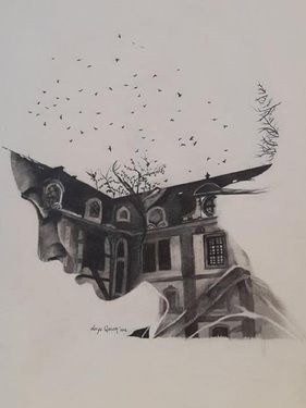 """Home of Memories,"" original portrait drawing by artist Derya QASEM (Turkey) available at Saatchi Art #SaatchiArt."