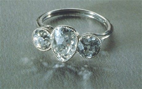 Titanic 100th anniversary: 5,000 artefacts to be auctioned, 3 stone Diamond and Platinum ring found in the wreckage of the Titanic.