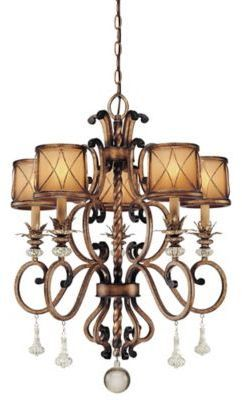 Minka Lavery Aston CourtTM 32-Inch 5-Light Chandelier in Bronze with Glass Shades