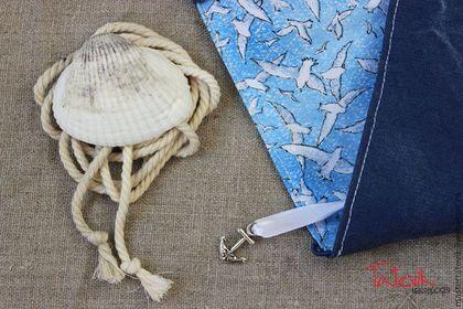 """Обложки ручной работы. Ярмарка Мастеров - ручная работа Обложка для книги -двухсторонняя """"Море, чайки"""" обложка на ежедневник. Handmade."""