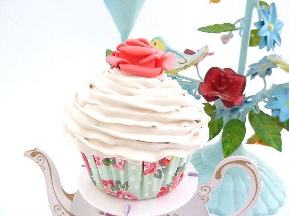 Shabby chic fake cupcake for kitchen decoration bridal - Navidad shabby chic ...
