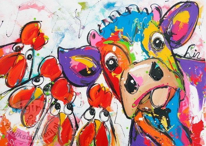 Vrolijk Schilderij Vreemde koe in de bijt