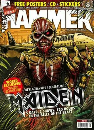 """MAIDEN'S FLYING HIGH: As Iron Maiden's """"The Book of Souls Tour"""" continues to run rampage worldwide, Metal Hammer caught a ride in the Ed Force One to Mexico in the May 2016 issue. Bring Me the Horizon gets an orchestra for their Royal Albert Hall concert and Ash Costello confesses her undying love for Marilyn Manson, the God of F**k. Also in the issue: Testament, Deftones, Ministry's Al Jourgensen and a feature on metal and racism."""