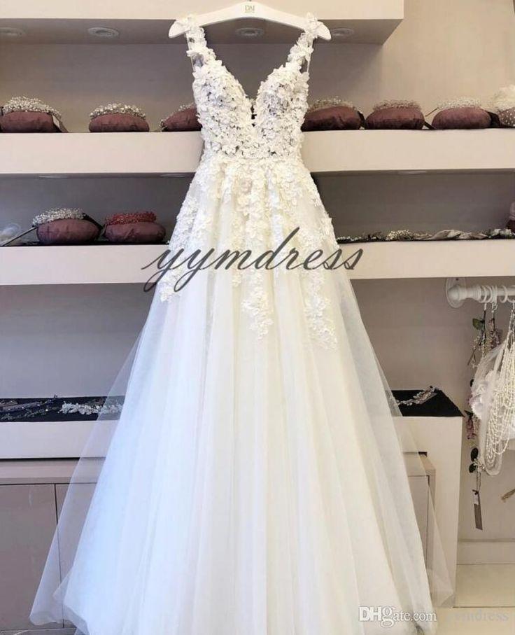 Latest Marriage ceremony Attire 2019 Lace Applique Deep V Neck Backless Quick Sleeves Bridal Robes Ground Size Seashore Bohemain gown de marié
