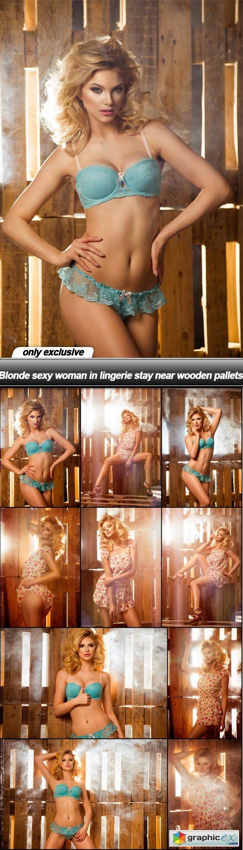 Blonde sexy woman in lingerie stay near wooden pallets  10 UHQ JPEG  stock images